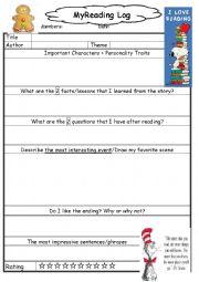 English Worksheet: My reading log