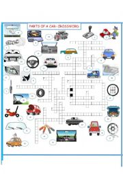 English Worksheet: PARTS OF A CAR     CROSSWORD SET 3 OF 3
