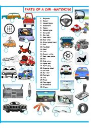English Worksheet: PARTS OF A CAR  MATCHING       SET 2 OF 3