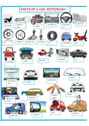 English Worksheet: PARTS OF A CAR PICTIONARY     SET 1 OF 3