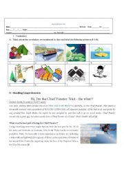 English Worksheet: Test A -  9th form - jobs and adventure