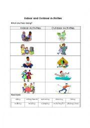 English Worksheet: Indoor and Outdoor Activities