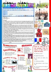 English Worksheet: An e-mail from Paris. Reading and semi-guided writing.