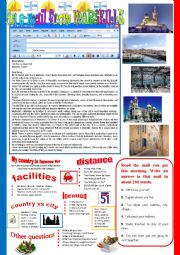 English Worksheet: An e-mail from Marseille. Reading and semi-guided writing.