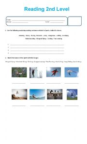 English Worksheet: Reading about sport