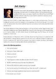 English Worksheet: Bob Marley Bio and Questions