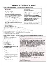 English worksheet: Reading: Apply for a job at a hotel