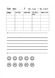 English worksheet: Can you? Speaking - writing activity