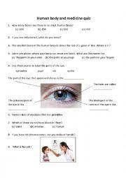 English Worksheet: Human Body and Medicine Quiz