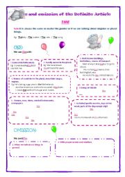 English Worksheet: Use and omission of the definite article