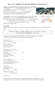 English Worksheet: Song Imagine