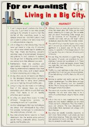 English Worksheet: For or against living in a big city. (Debating)