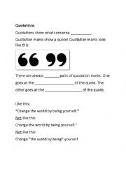 English Worksheet: Quotation Marks Fill-in-the-Blanks Beginner Lesson Worksheet