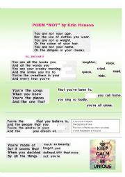 English Worksheet: POEM - NOT by Erin Hanson