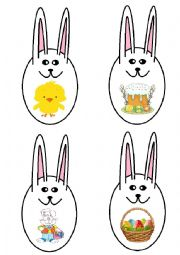 English Worksheet: Easter vocabulary memory game bunny
