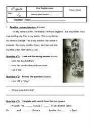 English Worksheet: 6TH FORM ENGLISH EXAMS
