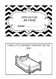 English Worksheet: FIVE LITTLE MONKEYS MINI BOOK
