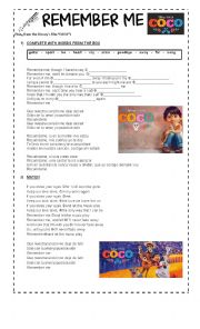 English Worksheet: REMEMBER ME (SONG FROM THE DISNEY�S FILM