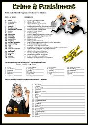 English Worksheet: CRIME & PUNISHMENT