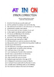 IN ON AT, prepositions of time ERROR CORRECTION