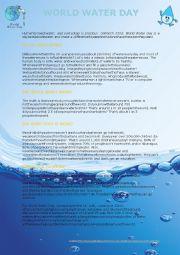 English Worksheet: World Water Day