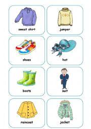 English Worksheet: Clothes Flashcards (part 2)