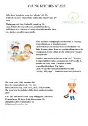 English worksheet: YOUNG KITCHEN STARS