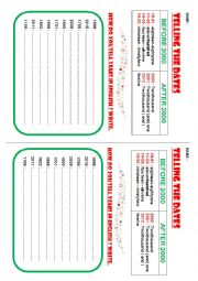 English Worksheet: Telling the dates