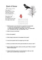 English Worksheet: Reading comprehension of a poem by Robert Frost