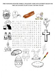 English Worksheet: EASTER SYMBOLS WORDSEARCH
