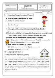 English Worksheet: 7th form - Module 3: House, birthday party, food, fruit, vegetables...