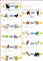 English Worksheet: I like cats but..