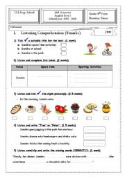 English Worksheet: 8th Form Mid-Semester Test 1 - Sporting Activities,Birthday, Table Manners