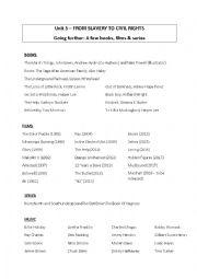 English Worksheet: Books, films, series, music about segregation