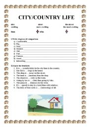 English Worksheet: CITY/COUNTRY LIFE
