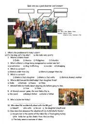 English Worksheet: modern family quiz pilot