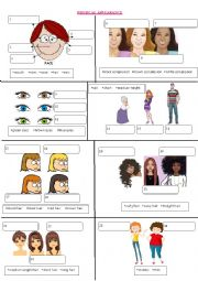 English Worksheet: Physical Appearance Picture Dictionary