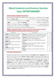English Worksheet: Vocabulary and Grammar Exercises Topic: ENTERTAINMENT
