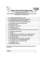 English Worksheet: School Ground Scavenger Hunt