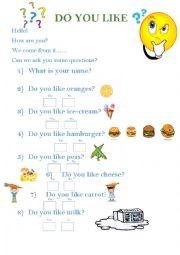 English worksheet: Do you like..?