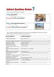 English Worksheet: indirect question worksheet