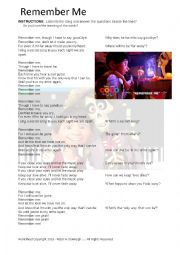 English Worksheet: Remember Me From