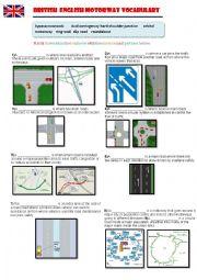 English Worksheet: British English Motorway Vocabulary