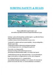 English Worksheet: Surfing Safety & Rules