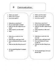 communication based worksheet