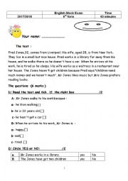 English Worksheet: reading comprehension 6th form tunisian test