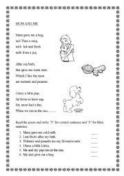 English Worksheet: poem comprehention