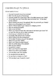 English worksheet: Cambridge Flyers Questions