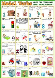 English worksheet: Modals Verbs - Must / Can / Could / May / Might / Should / Needn´t + KEY