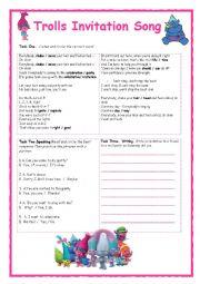 English Worksheet: Trolls Invitation Song Activity